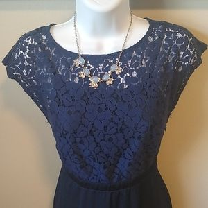 Navy Blue Dress with Lace Pattern